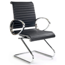 FurnitureToday Designer chrome and leather task office chair 8006