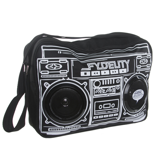 Black Retro Boombox Shoulder Bag With Working