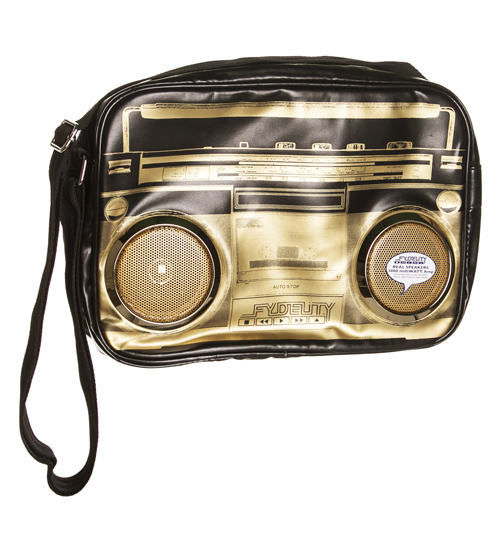 Gold And Black Retro Boombox Shoulder Bag With