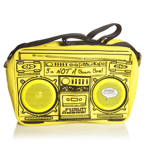 Yellow Retro Boombox Shoulder Bag With Working