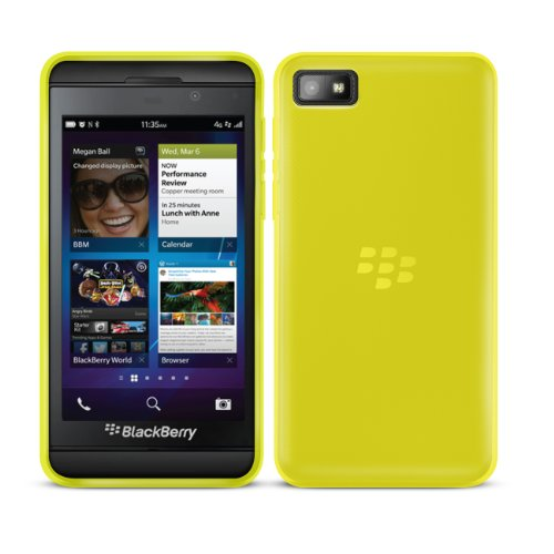 - BlackBerry Z10 Protective Bendy Soft Gel Case in YELLOW - Semi Transparent Phone Cover Skin - Custom Built for Black-Berry Z10 SmartPhone / PDA