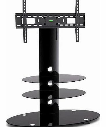 NEW BLACK GLASS TV STAND W/BRACKET for 32 37 42 50``SAMSUNG LCD/LED/PLASMA Comes With A Built In Swivel +-15 Degrees TV Bracket