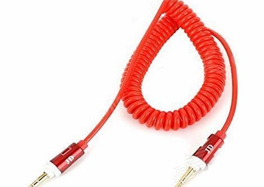 G4GADGET® Nice Quality Red 3.5mm AUX Stereo Male to Male AUX Spiral Cable cord (1.8 meter) For Apple iPad4 Ipad Air Ipad mini iPhone 5/5s,Ipod All Mp3 Mp4 Players Sony Creative Samsung, All Laptop Pc And ard 3.