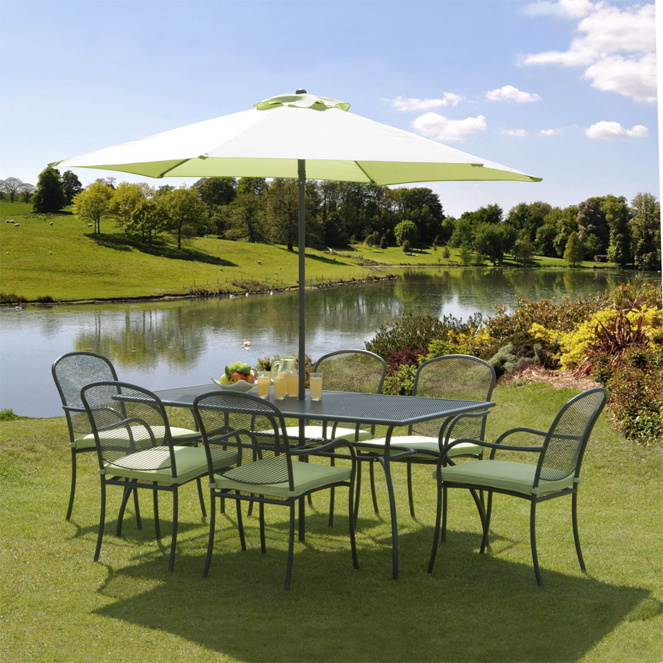 Bentley & Charcoal 1.7m 6 Seat Garden Dining Set