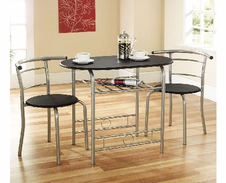 Black 2 Seater Compact Dining Set