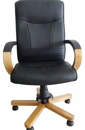 Gardens and Homes Direct Tuscan Black Leather Office Chair