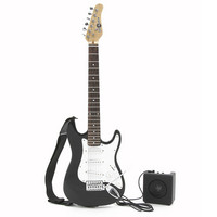 3/4 Electric-ST Guitar + Miniamp Black