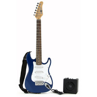 3/4 Electric-ST Guitar + Miniamp Blue