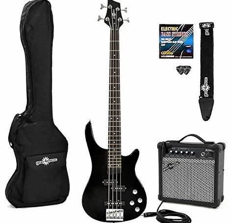 Chicago Electric Bass Guitar + Amp Pack Black