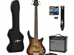 Chicago Electric Bass Guitar + Amp Pack Sunburst