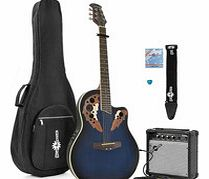 Deluxe Roundback Guitar and 15W Amp Pack Blue