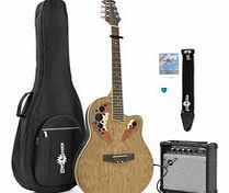 Deluxe Roundback Guitar and 15W Amp Pack Natural
