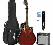 Deluxe Roundback Guitar and 15W Amp Pack Red