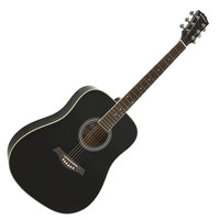 Dreadnought Acoustic Guitar by Gear4music Black