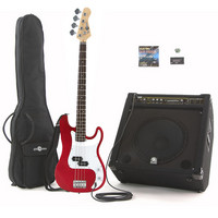 Electric G-4 Bass Guitar + 150W Power Pack Red