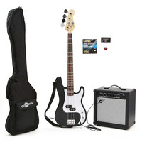 Electric G-4 Bass Guitar + 25W Amp Pack Black