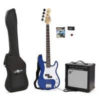 Electric G-4 Bass Guitar + 25W Amp Pack Blue