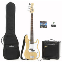 Electric G-4 Bass Guitar + 25W Amp Pack Natural