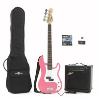 Electric G-4 Bass Guitar + 25W Amp Pack Pink