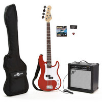 Electric G-4 Bass Guitar + 25W Amp Pack Red