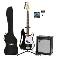Electric G-4 Bass Guitar + 35W Amp Pack Black