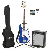 Electric G-4 Bass Guitar + 35W Amp Pack Blue