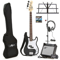 Electric G-4 Bass Guitar Black Christmas Pack