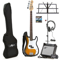 Electric G-4 Bass Guitar Sunburst Christmas Pack