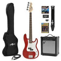 LA Bass Guitar + 25W Amp Pack Red