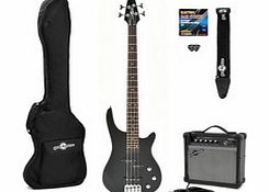 Miami Electric Bass Guitar + Amp Pack Black