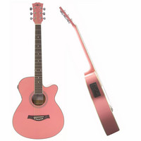 Single Cutaway Electro Acoustic Guitar Pink