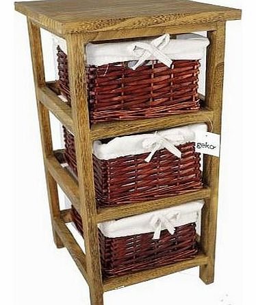 27 x 31 x 58 cm Layburn 3 Drawer Wooden Storage Cabinet with Wicker Drawers / Baskets for Bedroom / Bathroom or Wardrobe - Brown