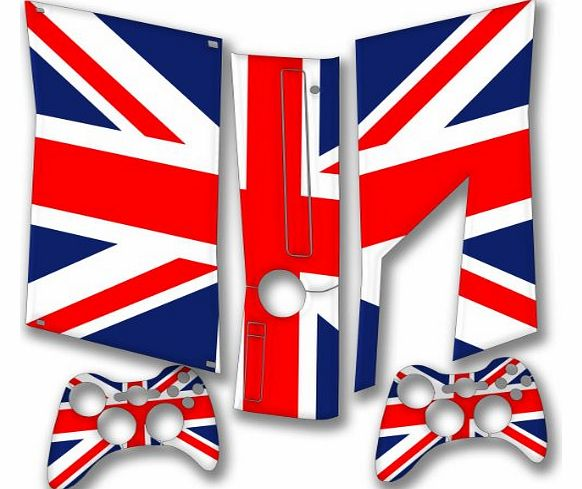 ``Flags`` Union Jack 2, Snuggle Edition, Sticker for XBOX 360 Slim Game Console.