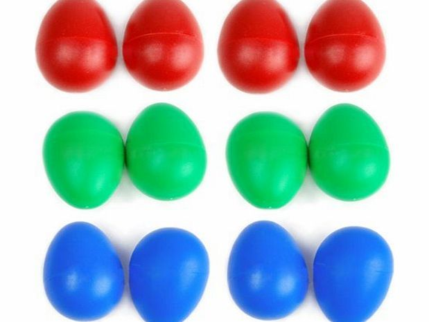 Generic 12 x Plastic Egg Maracas Shakers Musical Percussion---Blue Red Green