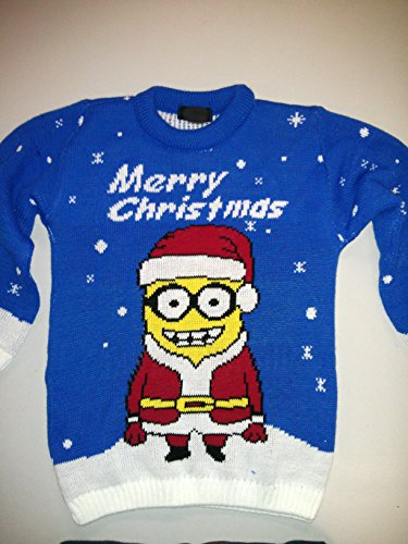 AMCO® Kids Unisex Boys&Girls minion Olaf Frozen Reindeer Knitted Christmas Xmas Sweater Jumper Top3-14years (13 blue )
