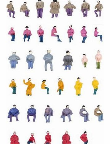 Approx.50pcs Painted Model Train Seated People Passengers Figures 1:87 HO Scale