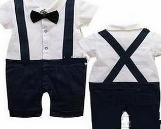 Generic Baby boys party outfit 6-24 mnths GENTLEMAn Short SLEEVE suit for wedding christmas birthday(9-12 months)