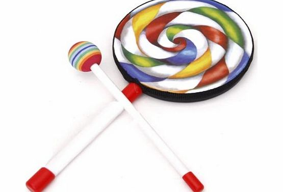 Generic Lolipop-Shape Kids Hand Drum with Mallet Musical Sound Toy---Colorful
