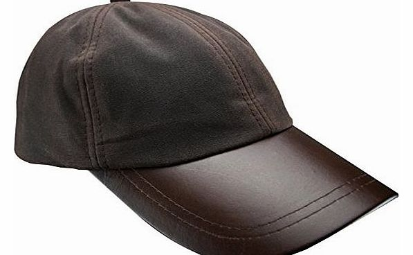New Mens Wax Baseball Cap Leather Peak Fishing Shooting Outdoor Waxed Cotton Hat Brown Black Light Green Dark Green (Brown)