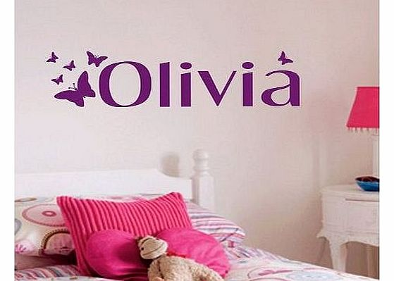 Personalised Butterfly Wall Sticker, Any Name, Any Colour, Childs Bedroom.