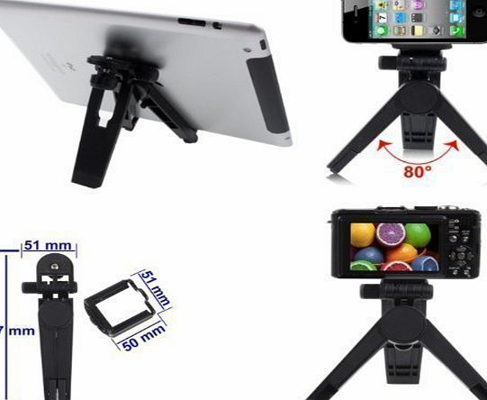 Portable Tripod Stand Holder For Digital Camera, Camcorders, Tablets And Mobile Phones (upto 7cm wide) Including iPad 4 / 3 /2 amp; iPhone 5S / 5C / 5 / 4 / 4S / 3GS / iPod Touch 5 / 4 / 3