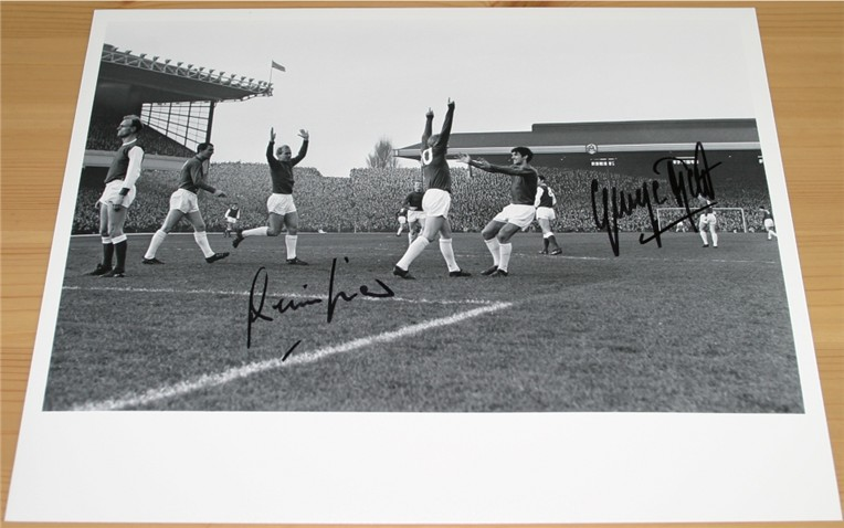 BEST and DENIS LAW HAND SIGNED 10 x 8 PHOTO