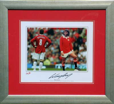 Best with Wayne Rooney signed and framed print