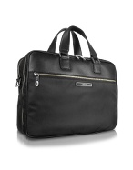 Black Nylon and Leather Laptop Briefcase