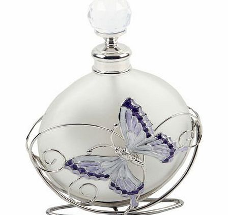 Beautiful Juliana, glass perfume bottle in a metal holder, decorated with purple flowers, crystals and a butterfly. An ideal gift for her (561PB).