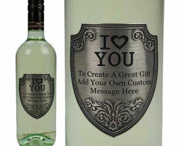 GiftsOnline4U Personalised I Love You White Wine with Pewter Label