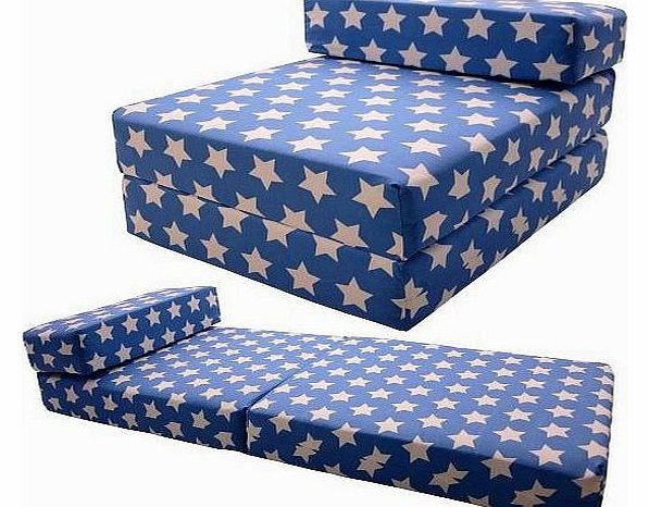 Gilda ® Single CHAIRBED - BLUE STARS COTTON Fold Out Chair bed Guest Z Sofa bed Futon folding Mattress