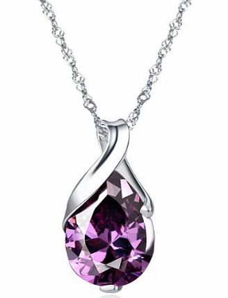 Golden-Sterling silver pendant necklace silver natural amethyst necklace 18 drop shape (Supplied in a Gift box) HJS002
