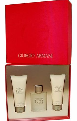 Acqua di Gio Gift Set - Eau de Toilette 50ml Spray, After Shave 75ml Balm & Shower Gel 75ml