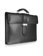 Class - Menand#39;s Black Leather Single-Gusset Briefcase